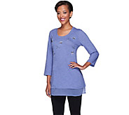 LOGO by Lori Goldstein Slub Knit Top with Swiss Dot Trim - A254032
