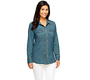 Denim & Co. Stretch Denim Long Sleeve Button Front Shirt - A256332