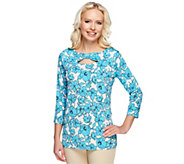 As Is Susan Graver Printed Liquid Knit Top with 3/4 Sleeves - A259332