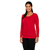 Susan Graver Liquid Knit Long Sleeve Top with Banded Bottom Hem - A260332
