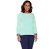 Denim & Co. Active Striped Long Sleeve Top w/ Chambray - A263632