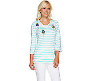 Quacker Factory Embroidered Parakeet 3/4 Sleeve T-shirt - A264532