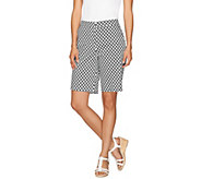 Susan Graver Printed Cotton Sateen Zip Front Bermuda Shorts - A265032