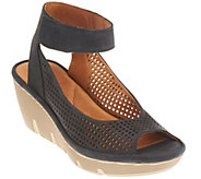 As Is Clarks Artisan Nubuck or Leather Cut-out Wedges - Clarene Prima - A270932