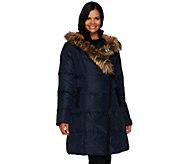 G.I.L.I. Asymmetric Zip Down Puffer Coat with Faux Fur Trim - A271332