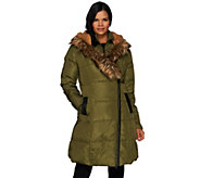 G.I.L.I. Asymmetric Zip Down Puffer Coat with Faux Fur Trim - A271332