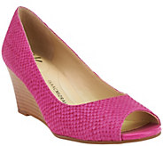 As Is Isaac Mizrahi Live! Textured Suede Open Toe Wedges - A271532
