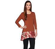 LOGO by Lori Goldstein Knit Top with Printed Crepe Trim - A273332