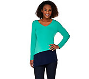 Susan Graver Liquid Knit Color-Block V-neck Tunic w/ Asymmetric Hem - A274432