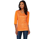 Quacker Factory Sequin and Mesh-Lined 3/4 Sleeve T-shirt - A274532