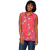 Susan Graver Printed Feather Weave Sleeveless Button Up Shirt - A276432