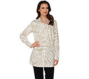 Dennis Basso Animal Print A-Line Blouse with Long Sleeves - A278232
