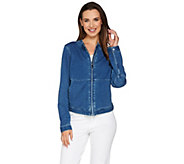 Lisa Rinna Collection Stretch Denim Motorcycle Jacket - A278432