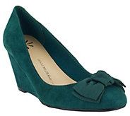 As Is Isaac Mizrahi Live! Suede Bow Wedges - A280332