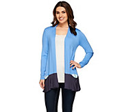 As Is LOGO by Lori Goldstein Color-Block Cardigan with Contrast Pocket - A281932
