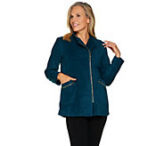 Bob Mackies Asymmetric Zip Knit Fleece Jacket with Pockets - A283732