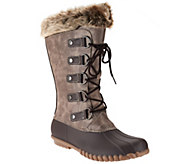 As Is WearEver Lace-up Boots with Faux Shearling - A283832