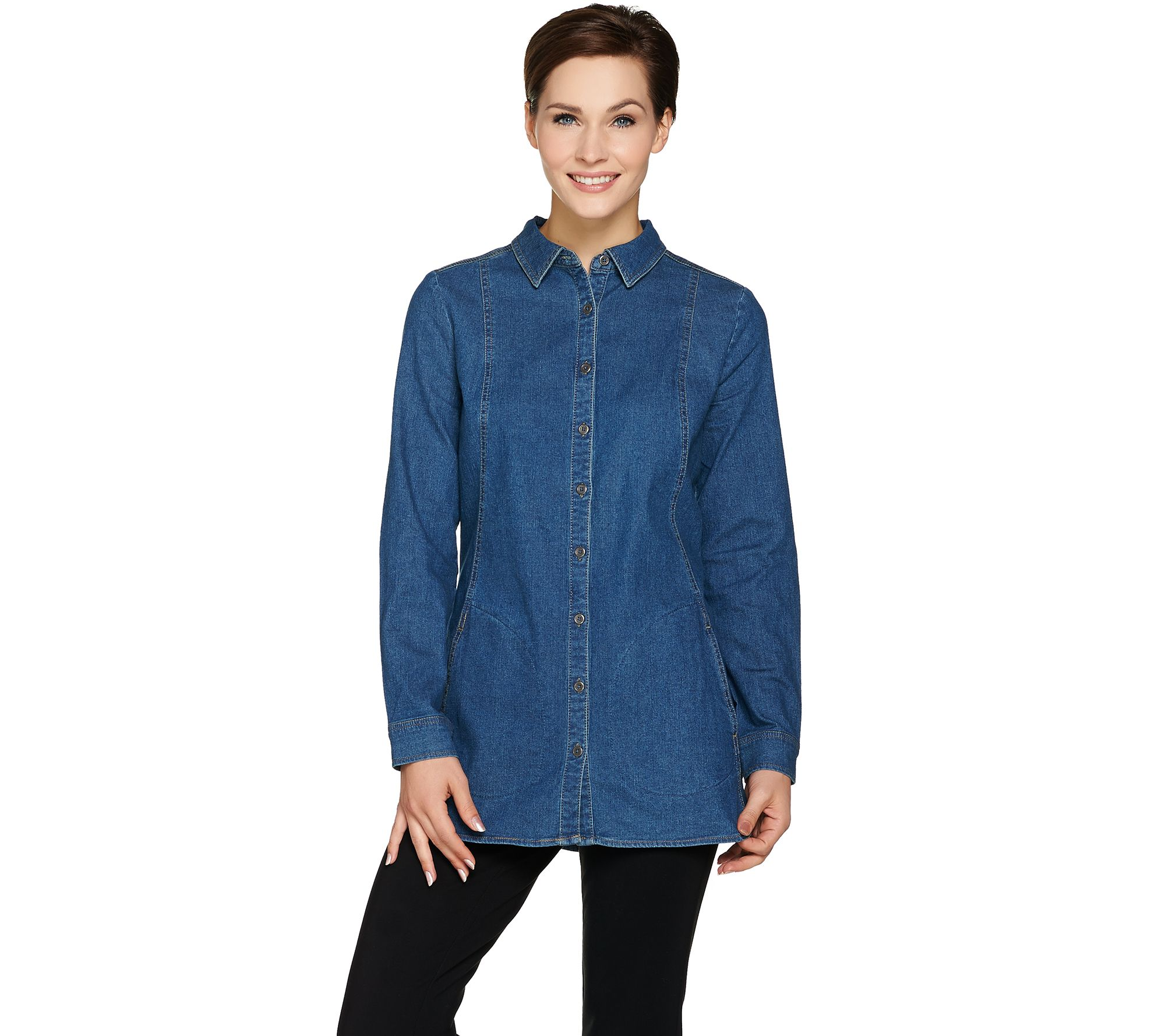 Denim is a true wardrobe staple—it never seems to go out of style! This favorite fabric comes in a variety of styles, including pants, shirts, dresses, jackets, tops, and more. Shop women's denim from top brands and designers at QVC. Find your perfect fit in our selection of jeans for every figure.