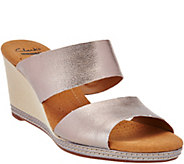 As Is Clarks Leather Double Band Slide Wedge Sandals - Helio Lily - A285532