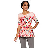 Isaac Mizrahi Live! Painterly Floral Print Elbow Sleeve Peplum Top - A286132
