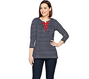 Susan Graver Weekend Striped Cotton Modal Top with Lacing - A286732