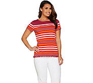 C. Wonder Engineered Stripe Short Sleeve Top with Pom Pom Trim - A287632
