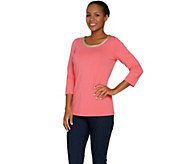 Belle by Kim Gravel Lurex Chain Trim 3/4 Sleeve T-shirt - A288932