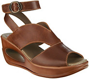 FLY London Leather Ankle Wrap Wedge Sandals - Hibo - A289732
