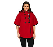 As Is Centigrade Button Front Cape with Faux Leather Trim - A291432