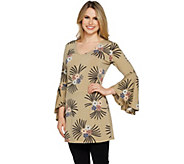 Du Jour Choice of Print V-Neck Bell Sleeve Knit Tunic - A293732