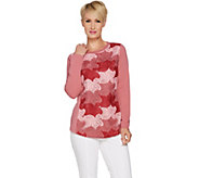 Isaac Mizrahi Live! Crew Neck Lace Applique Sweatshirt - A293932