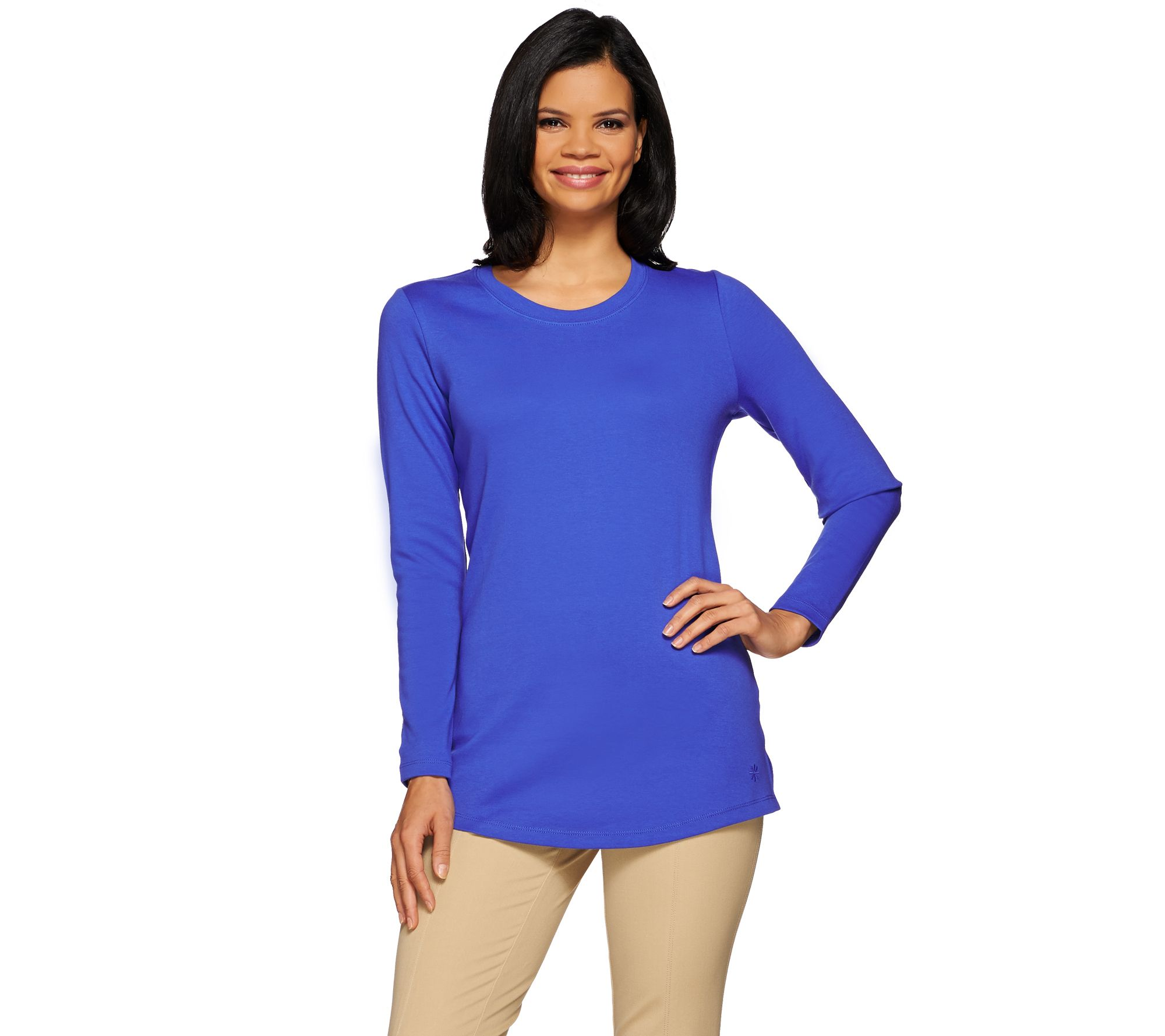 As is isaac mizrahi live essentials scoop neck long for Scoop neck long sleeve shirt