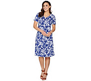 As Is Denim & Co. Floral Print Fit and Flare Short Sleeve Dress - A297032
