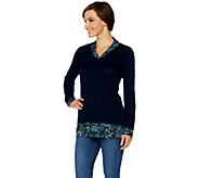 Kelly by Clinton Kelly Printed Mock Layer V-neck Top - A297932