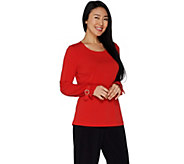Susan Graver Liquid Knit Long Sleeve Top with Buckle Cuffs - A301132