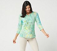 Susan Graver Space Dyed Sweater Knit Top with Lacing - A302632