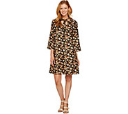 As Is Du Jour Floral Printed 3/4 Sleeve Dress with Neck Tie Detail - A305332