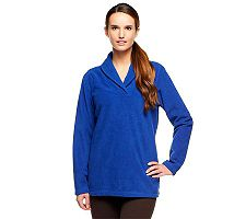 Denim & Co. Shawl Collar Long Sleeve Pullover Fleece Women's Top