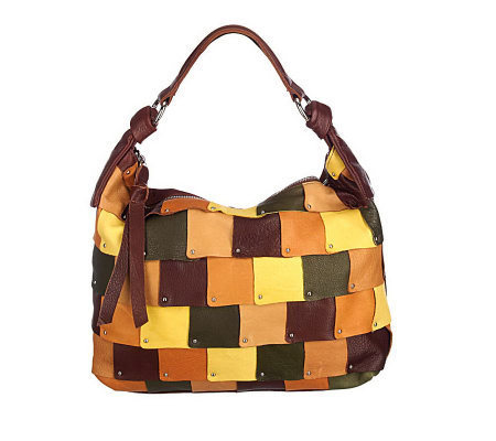 B. Makowsky Glove Leather Patchwork Design Zip Top Hobo Bag — on ... 621465f071