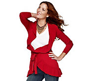 M by Marc Bouwer Ruffle Cardigan with Removable Self Belt - A218133