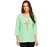 Quacker Factory 3/4 Sleeve T-shirt w/ Sparkly Fun Embroideries - A222133