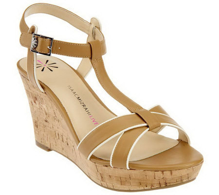 Isaac Mizrahi Live! Sandal with Ankle Strap and Cork Wedge