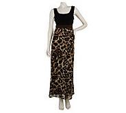 Susan Graver Animal Print Chiffon Maxi Dress w/Liquid Knit Bodice - A224333