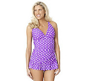 Ocean Dream Signature Blue Jean Girl Shirred X-Back Swim Dress - A231033