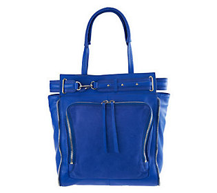 Kelsi Dagger Draco Leather North/South Tote with Buckle Detail