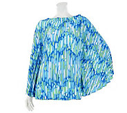 Bob Mackies Sunburst Pleated Printed Top with Ruching - A233333
