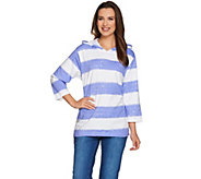 Denim & Co. Painterly Stripe Oversized Knit Hoodie - A233433