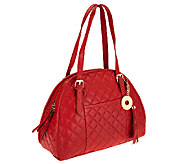 Isaac Mizrahi Live! Bridgehampton Lamb Leather Quilted Satchel - A234733