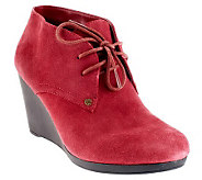 Isaac Mizrahi Live! Suede Lace-up Wedge Ankle Boots - A235533