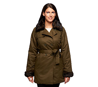 Product image of Dennis Basso Water Repellent Belted Jacket w/ Removable Collar & Cuffs